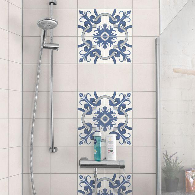 Produktfoto Fliesenaufkleber - Spanischer Fliesenspiegel - 4 Fliesen crème blau 15cm x 15cm