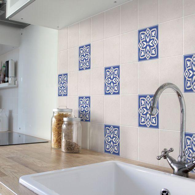 Produktfoto Fliesenaufkleber - Portugiesische Fliese mit blauer Blüte 10cm x 10cm - Fliesensticker Set