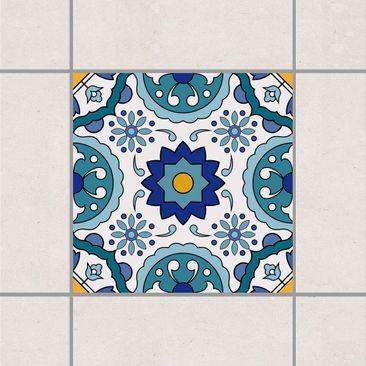 Produktfoto Fliesenaufkleber - Portugiesisches Fliesenmuster aus Azulejo 10cm x 10cm - Fliesensticker Set Türkis