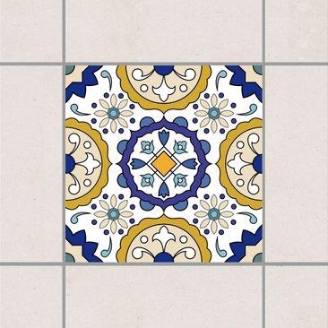 Produktfoto Fliesenaufkleber - Spanisches Blumenornament 10cm x 10cm - Fliesensticker Set Gold Blau