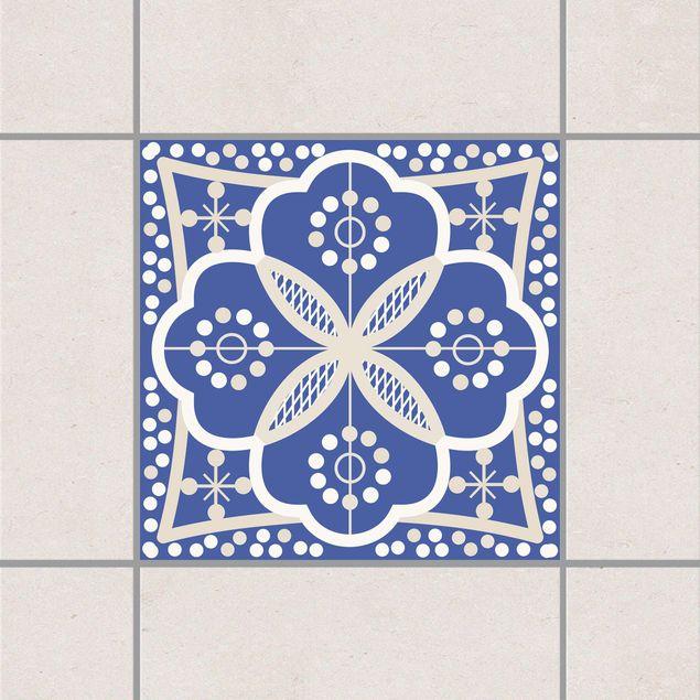 Produktfoto Fliesenaufkleber - Portugiesische Wandfliese 20cm x 20cm - Fliesensticker Set Blau Weiss