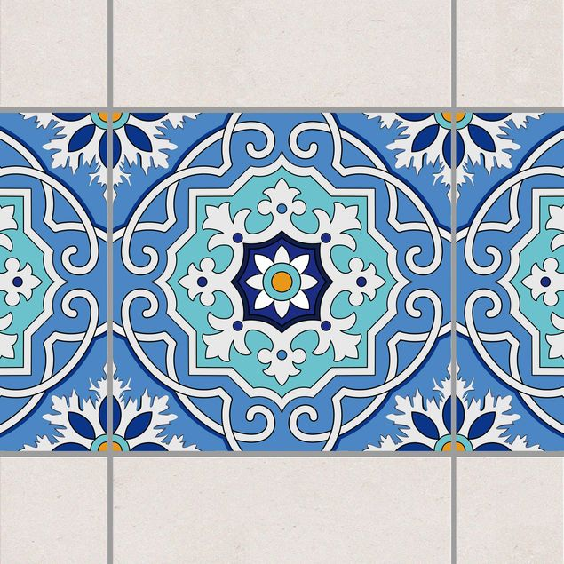 Produktfoto Fliesen Bordüre - Spanische Fliesenmuster blau türkis 10cm x 10cm - Fliesenaufkleber
