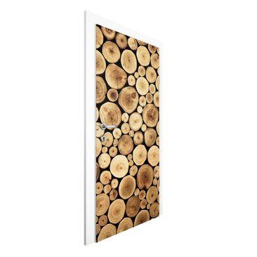 Produktfoto Türtapete Holzoptik - Vliestapete Tür Premium - Homey Firewood - Vliestapete Premium