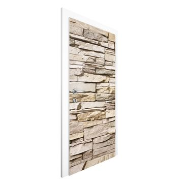 Immagine del prodotto Carta da parati per porte - Asian Stonewall - Stone wall with big bright stones - 215cm x 96cm