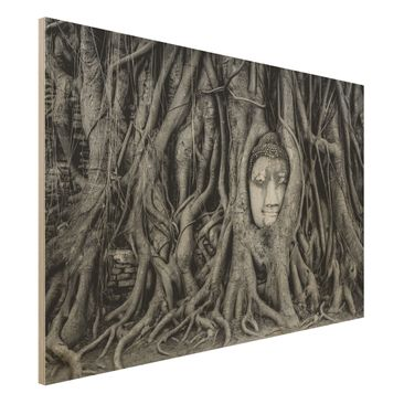 Immagine del prodotto Stampa su legno - Buddha in Ayutthaya lined by tree roots in black-and-white - Orizzontale 2:3