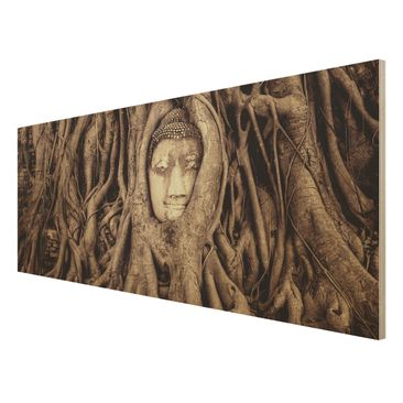 Product picture Wood Print - Buddha in Ayutthaya lined...