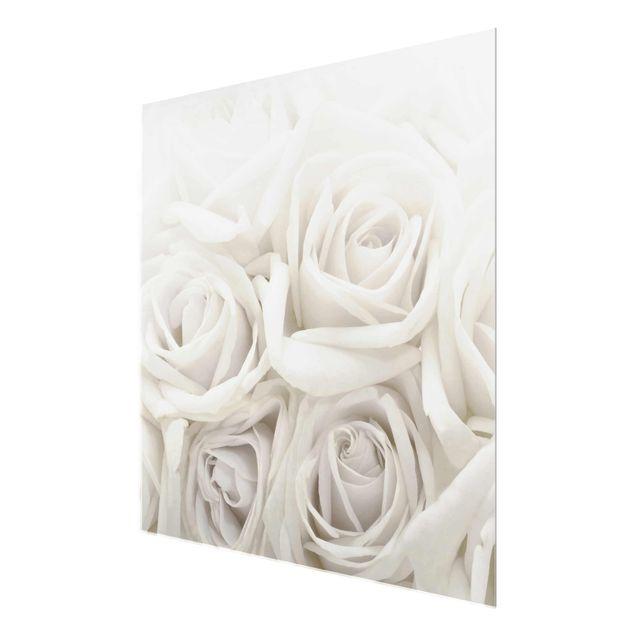 Produktfoto Glasbild - Wedding Roses - Quadrat 1:1 - Blumenbild Glas