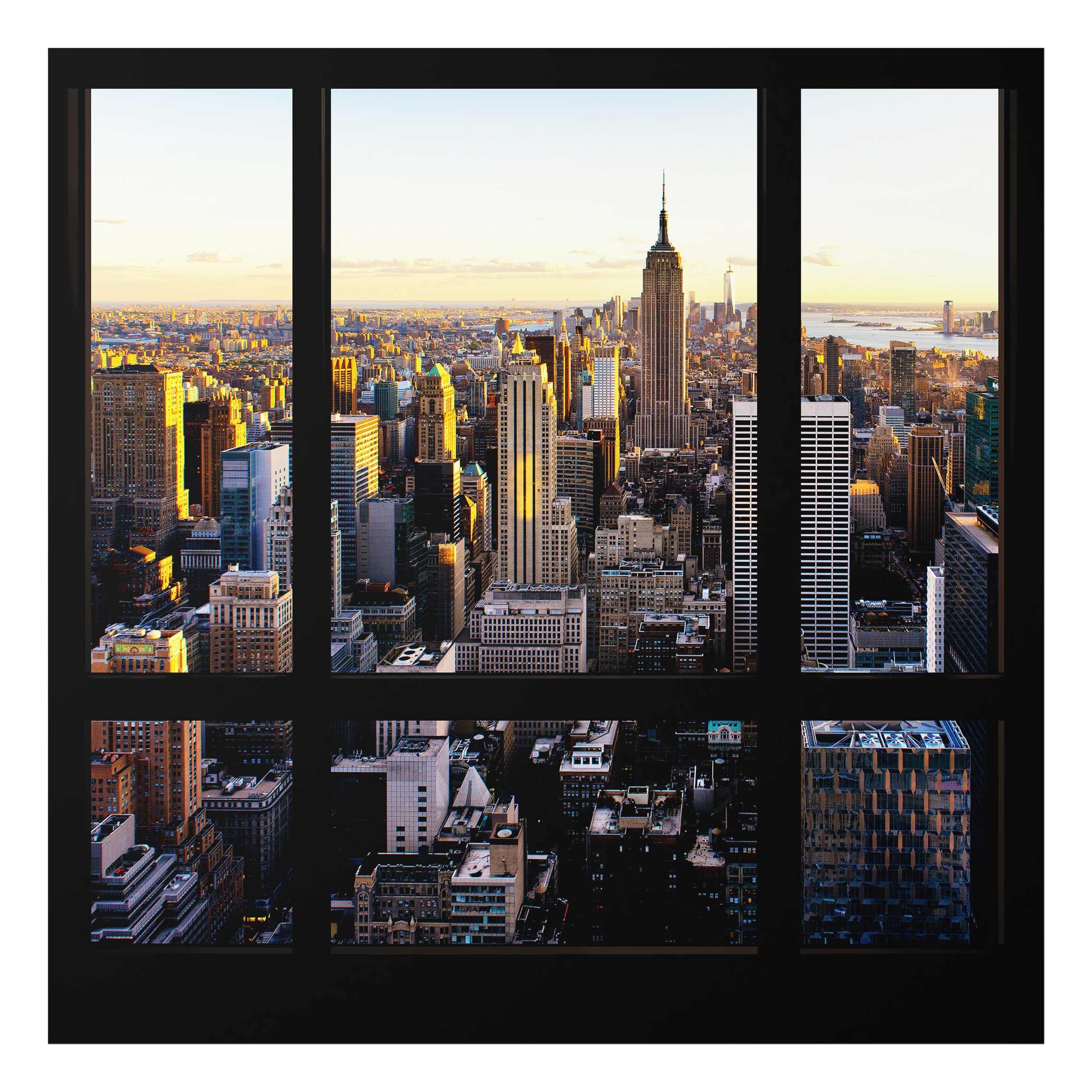 glasbild fensterblick am abend ber new york quadrat 1 1. Black Bedroom Furniture Sets. Home Design Ideas