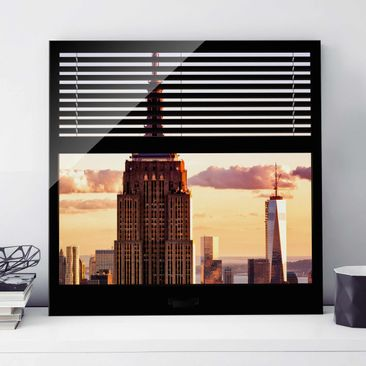 Produktfoto Glasbild - Fensterblick Jalousie - Empire State Building New York - Quadrat 1:1