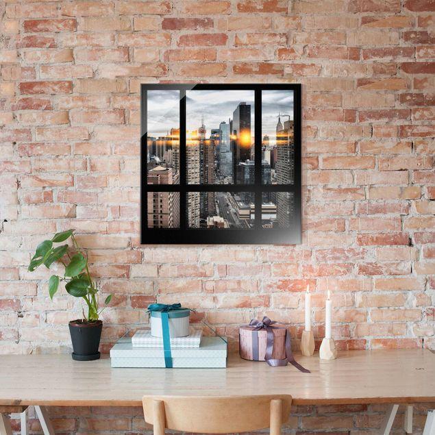 Produktfoto Glasbild - Fensterblick New York mit Sonnen-Reflexion - Quadrat 1:1