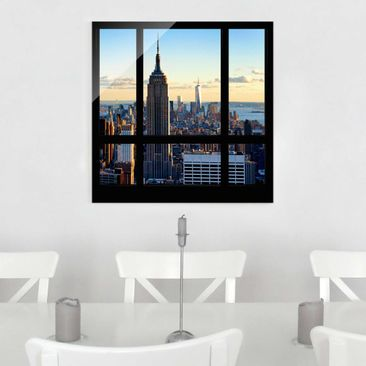 Produktfoto Glasbild - New York Fensterblick auf Empire State Building - Quadrat 1:1