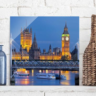 Produktfoto Glasbild - Big Ben und Westminster Palace in London bei Nacht - Quadrat 1:1