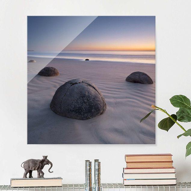 Glasbild - Moeraki Boulders Neuseeland -...