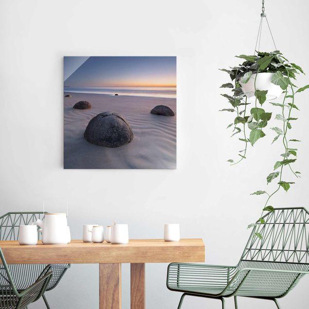 Produktfoto Glasbild - Moeraki Boulders Neuseeland - Quadrat 1:1