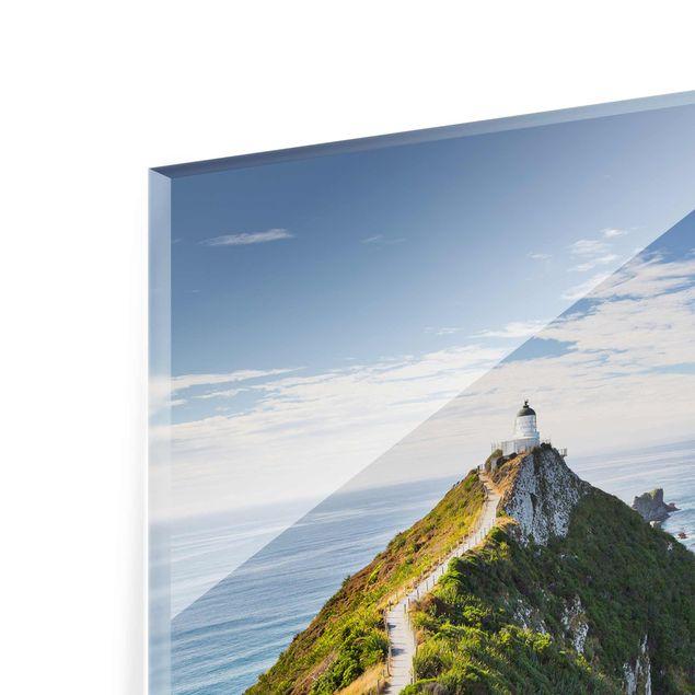 Produktfoto Glasbild - Nugget Point Leuchtturm und Meer Neuseeland - Quadrat 1:1