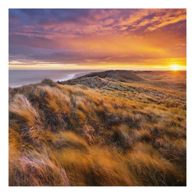 Produktfoto Glasbild - Sonnenaufgang am Strand auf Sylt - Quadrat 1:1