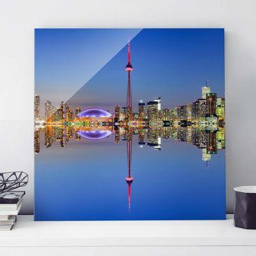 Produktfoto Glasbild - Toronto City Skyline vor Lake Ontario - Quadrat 1:1