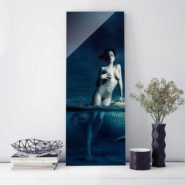 Produktfoto Glasbild - Frauenakt mit Fisch -...