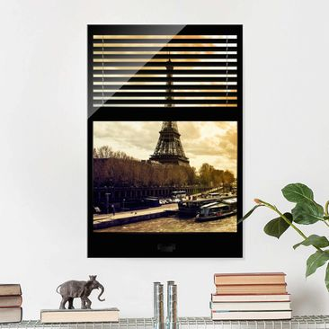 Immagine del prodotto Stampa su vetro - Window blinds views - Paris Eiffel Tower sunset - Verticale 3:2