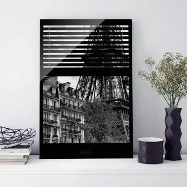 Immagine del prodotto Stampa su vetro - Window view Paris - Near the Eiffel Tower black and white - Verticale 3:2