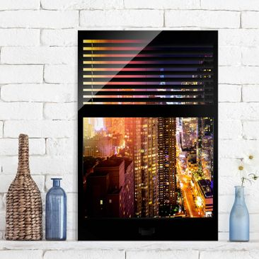 Immagine del prodotto Stampa su vetro - Window blinds views - Manhattan at night - Verticale 3:2
