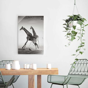 Product picture Print on Glass - Giraffe hunting - Glass...