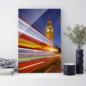 Produktfoto Glasbild - Verkehr In London am Big Ben bei Nacht - Hoch 3:2