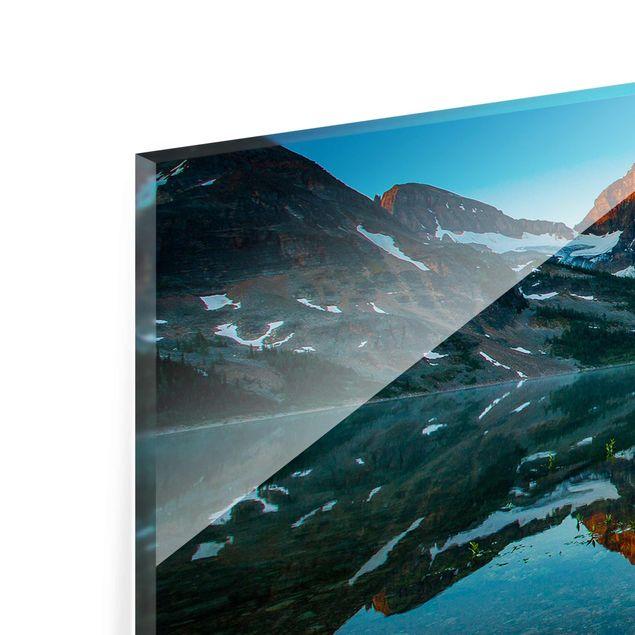 Produktfoto Glasbild - Berglandschaft am Lake Magog in Kanada - Panorama Quer