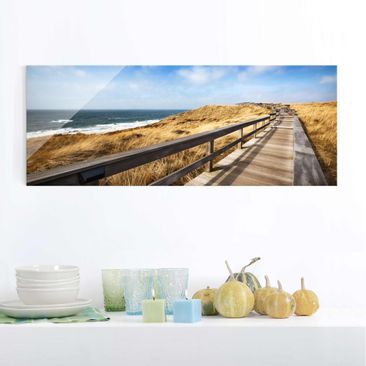 Immagine del prodotto Stampa su vetro - Pathway Through the dunes at the North Sea at Sylt - Panoramico