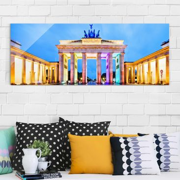 Product picture Print on Glass - Illuminated Brandenburg...