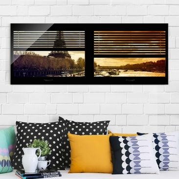 Immagine del prodotto Stampa su vetro - Window blinds views - Paris Eiffel Tower sunset - Panoramico