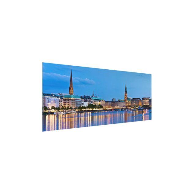 Produktfoto Glasbild - Hamburg Skyline - Panorama Quer