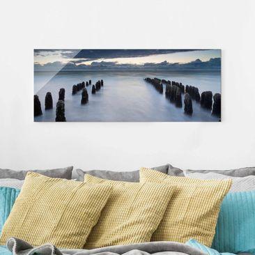 Produktfoto Glasbild - Holzbuhnen in der Nordsee auf Sylt - Panorama Quer