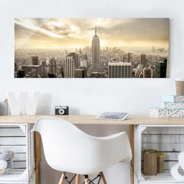 Produktfoto Glasbild - Manhattan Dawn - Panorama...