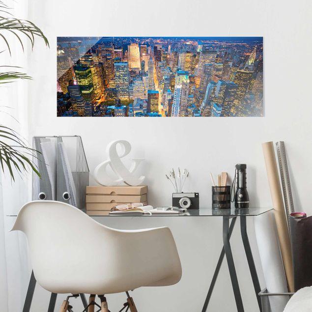 Produktfoto Glasbild - Midtown  Manhattan - Panorama Quer