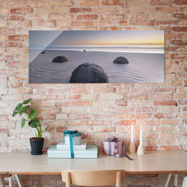 Produktfoto Glasbild - Moeraki Boulders Neuseeland - Panorama Quer