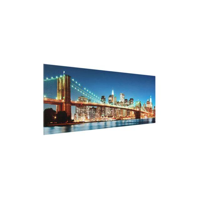 Produktfoto Glasbild - Nighttime Manhattan Bridge - Panorama Quer