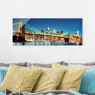 Produktfoto Glasbild - Nighttime Manhattan Bridge - Panorama Quer