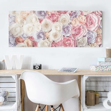 Product picture Print on Glass - Pastel Paper Art Roses...