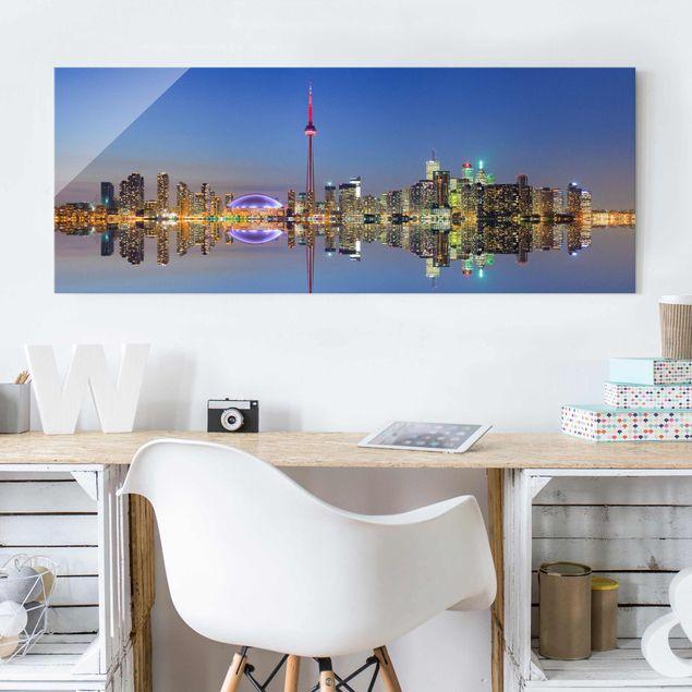 Produktfoto Glasbild - Toronto City Skyline vor Lake Ontario - Panorama Quer