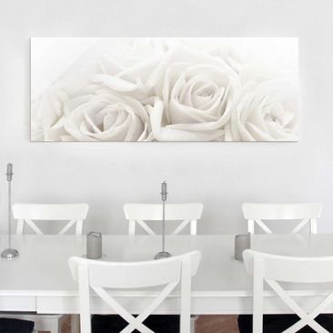 Produktfoto Glasbild - Wedding Roses - Panorama Quer...
