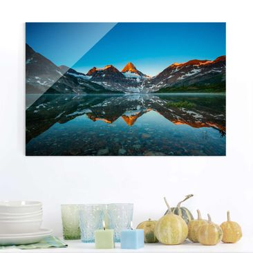 Produktfoto Glasbild - Berglandschaft am Lake Magog in Kanada - Quer 2:3