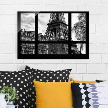 Immagine del prodotto Quadro su vetro - Window view Paris - Near the Eiffel Tower black and white - Orizzontale 2:3