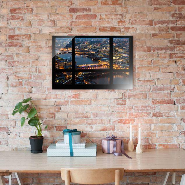 Produktfoto Glasbild - Fensterblick auf Londons...