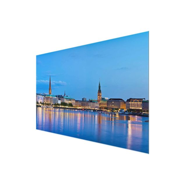 Produktfoto Glasbild - Hamburg Skyline - Quer 2:3