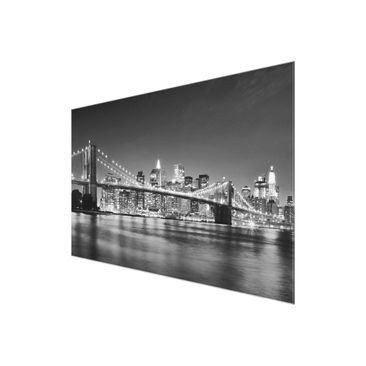 Product picture Glass Print - Nighttime Manhattan Bridge...