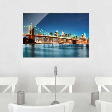 Produktfoto Glasbild - Nighttime Manhattan Bridge - Quer 2:3