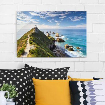 Produktfoto Glasbild - Nugget Point Leuchtturm und Meer Neuseeland - Quer 2:3