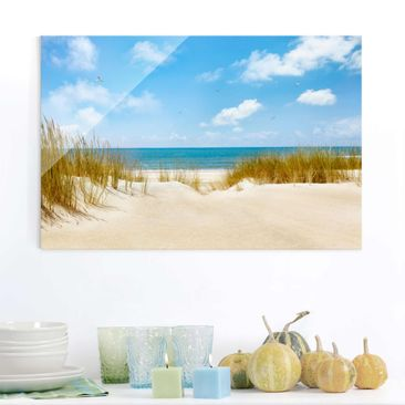 Product picture Glass Print - Beach at the North Sea -...