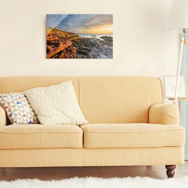 Produktfoto Glasbild Meerblick - Tarbat Ness Leuchtturm und Sonnenuntergang am Meer - Meerbild Quer 2:3